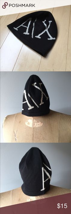 a4dde6f6d0277 A X Armani Exchange Black Beanie GUC made of cotton and rayon.