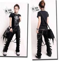 Cheap fashion trousers, Buy Quality fashion pants directly from China pants fashion Suppliers: Punk Rave Rockabily Pants Fashion Mens Womens Gothic Streampunk EMO Trousers Visual Kei, Punk Outfits, Gothic Outfits, Cool Outfits, Alternative Mode, Alternative Fashion, Emo, Rave Pants, Women's Pants