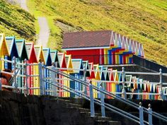 @DuluxDecCentre #DDCColour. The beach hutst at Whitby By Eva Trelfa #Colour #Beachhuts #Whitby