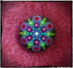 Jewel Drop Mandala Painted Stone- Royal Rubies and Terrific Turquoise - by Elspeth Mclean