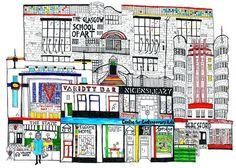 Welcome to Sauchiehall Street by Libby Walker. Dere, Winning The Lottery, Woodblock Print, Glasgow, Welcome, Modern Art, Scotland, Street, School