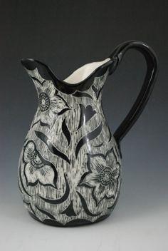 Rebecca A. Grant Ceramics: Sgraffito Flower Pitcher