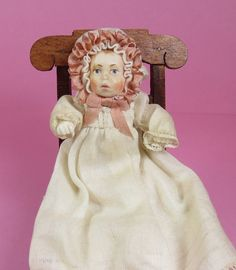 DollHouse Miniature 1:12 Vintage ARLYN COAD's Hand Sculpted WAX DOLL  OOAK RARE  #ArlynCoad