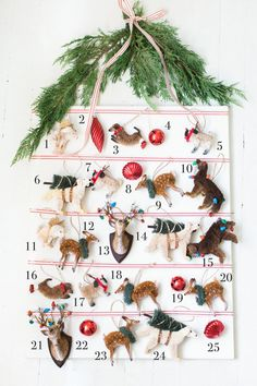 Make Your Own DIY Advent Calendar using ornaments from Pottery Barn