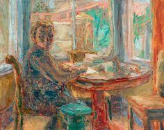 "terminusantequem:  ""John Lessore (British, b. 1939), Woman Writing at a Desk. Oil on canvas, 73 x 90 cm  """