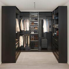 IKEA – PAX black-brown Corner wardrobe Frame color: - Home creative ideas Walk In Closet Design, Bedroom Closet Design, Master Bedroom Closet, Closet Designs, Bedroom Black, Wardrobe Room, Wardrobe Closet, Ikea Pax Wardrobe, Open Wardrobe