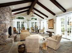 love the floor, stone, beams