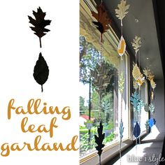 Falling Leaf Garland - quick and fun window display to add to your fall decor