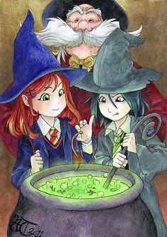 HP fan art - Potions Class by ChildProdigy7. Lily Evans and Severus Snape when they were little and professor Slughorn when he still had some hair :D If Gryffindors and Slytherins had potions together back then too, it must have been something like this... Lily and Snape are best in their year and Professor Slughorn is extremely proud of them