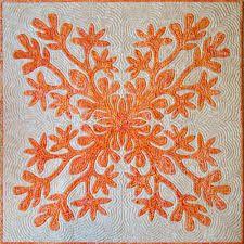 Variegated orange batik on white