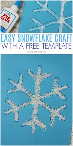 easy snowflake craft for kids to make toddler preschool #preschool #toddlers #kidscrafts