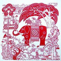 佛山剪纸 傣族风情 Chinese Paper Cutting, Yangzhou, Southern Style, Paper Art, Christmas Cards, Tropical, Carving, Silhouettes, Pattern