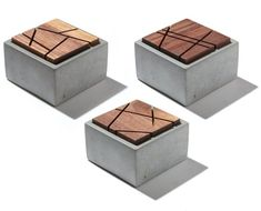 Small Grey Concrete Box with geometric sliced solid Dark American Walnut lid/Min. - Small Grey Concrete Box with geometric sliced solid Dark American Walnut lid/Minimalist Home Decor/ - Wood Concrete, Concrete Furniture, Concrete Crafts, Concrete Projects, Concrete Design, Furniture Design, Concrete Houses, Concrete Planters, Luxury Furniture