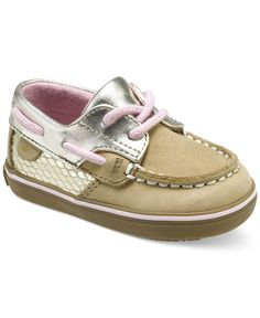 Finish baby girl's look in super-sweet style with these Sperry boat shoe-inspired crib shoes featuring adjustable laces for a secure fit on her little feet. | Leather upper; rubber sole | Wipe clean |