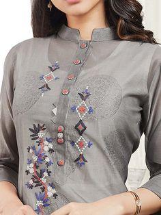 Best 12 Shop Grey color cotton festive kurti online from India. Punjabi Suit Neck Designs, Neck Designs For Suits, Kurta Neck Design, Dress Neck Designs, Pakistani Dress Design, Blouse Designs, Embroidery On Kurtis, Kurti Embroidery Design, Embroidery Neck Designs