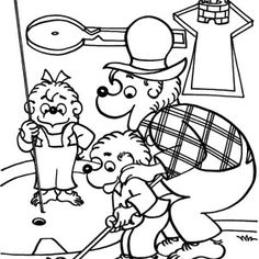 brother and sister bear playing swing in berenstain bear coloring