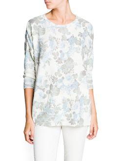Pullover floreale lana e mohair