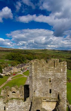 Looking out from the roof of Bolton Castle into Wensleydale and the Yorkshire Dales National Park - England