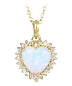 Opal & Gold Framed Heart Pendant Necklace