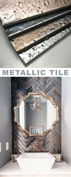 Powder bath near formal dining....Metallic tile! Beautiful and creative tile ideas for kitchen back splashes, master bathrooms, small bathrooms, patios, tub surrounds, or any room of the house! | Listotic.com