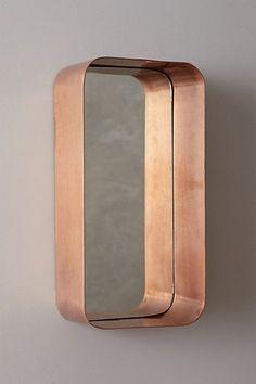 copper industrial mirror shelf