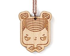 Wooden pendant Ice cream - laser engraved and cut - minimalist - cute food - japanese - scandinavian - design - maple    This delicate wooden