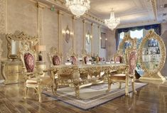 Homey Design Long Dining Table Set in Gold Tone Gold Dining Room, Dining Room Victorian, Elegant Dining Room, Luxury Dining Room, Long Dining Table, Dining Table Setting, Victorian Furniture, Luxury Dining Chair, Traditional Dining Room Sets