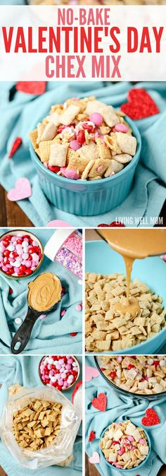 No-Bake Valentine's Day Chex Mix - so easy kids can make it! This recipe is perfect for a Valentine's Day party too! No-Bake Valentine's Day Chex Mix - so easy kids can make it! This recipe is perfect for a Valentine's Day party too! Valentines Day Food, Valentine Treats, Holiday Treats, Holiday Recipes, Valentine Party, Valentines Baking, Valentines Recipes, Valentines Breakfast, Valentine Cupcakes