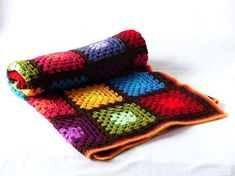 Crochet baby blanket - Granny squares - vintage look - seventies style - crib or stroller blanket Granny Square Häkelanleitung, Crochet Granny Square Afghan, Baby Blanket Crochet, Crochet Baby, Granny Squares, Crochet Afghans, Crochet Blankets, Baby Blankets, Recycled Crafts