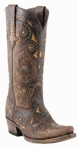 Lucchese Since 1883 Womens Studded Scarlette Brown Natural Inlays Leather Boots M5015
