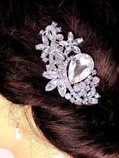 Crystal Rhinestone  Hair Piece  Bridal by svitlanasbridalveils, $45.95