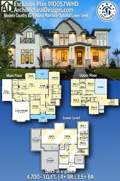 With the modern Country Barn Farmhouse Home Plan you have more than Sims House Plans, Dream House Plans, House Floor Plans, My Dream Home, 6 Bedroom House Plans, House Rooms, Future House, My House, Country House Plans