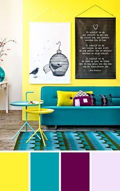 AMARELO + TURQUESA + ROXO | Juntar várias cores vibrantes em um ambiente só também pode dar muito certo. As cores desse ambiente dão vida e alegria para ele, a gente fica animado só de olhar!