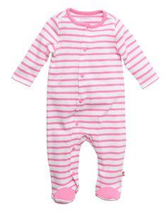 Pink Breton Stripe Newborn Footie