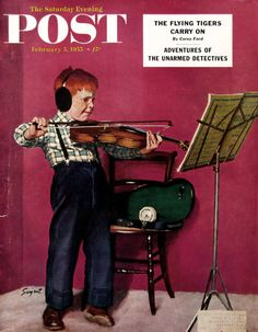 "1955 ""Violin Practice"" - Red Haired Boy Practicing His Violin - Dick Sargent Art - Vintage 1950s Saturday Evening Post Cover Art"