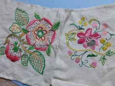 FOUR VINTAGE LINEN PANELS HAND EMBROIDERED WITH PINK FLOWERS IN jACOBEAN STYLE in Antiques, Fabric/ Textiles, Embroidery | eBay