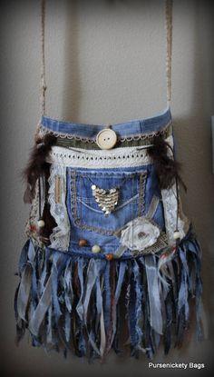 Denim backpack denim jeans Bag Recycled Denim Boho bag Tote bag Jeans purse Recycled Denim vintage Bohemian Bag Hippie Bag Denim handbag