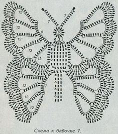 "Узор ""Бабочка"" 24. Узоры вязания. Узелок.ру Crochet Butterfly Pattern, Crochet Stitches Patterns, Crochet Patterns Amigurumi, Crochet Flowers, Mode Crochet, Crochet Art, Thread Crochet, Crochet Motif, Filet Crochet"