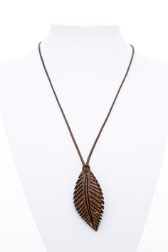 """Gift idea Pendant """"Indian Leaf"""" from Coconut Shell natural unisex pendant  hand carved leaf pendant art pendant eco  wood leaf pendant - $40.00 USD"""