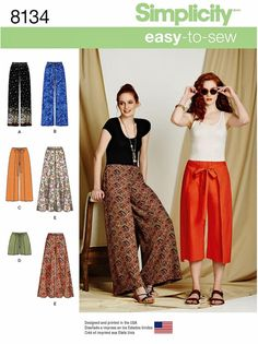 Wrap front pants have flange sides that wrap to the front, two length options and shorts, or wide leg (palazzo) pants all with elastic waist, an easy to sew pattern. See pattern back picture for size measurements chart and details, click the zoom for easy reading. Find pattern sizes in the select a size drop down beside the picture. All patterns at Blue510 are new with factory folds and instructions. S8134 sewing pattern. 3.2