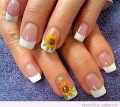 Simple french nails with yellow flowers