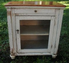 Antique Primitive Nightstand Shabie Chic Furniture Bath Cabinet Country French | eBay