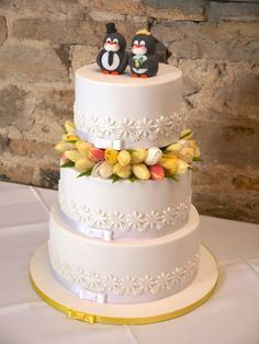 Round Wedding Cakes - Penguin and tulip themed cake for Sam and Alex wedding!