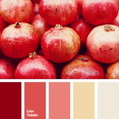 Several shades of plum and steel pink bring refinement and elegance to the palette. Sand orange creates warmth and comfort, and lemon adds freshness and a. Red Colour Palette, Colour Schemes, Color Combos, Red Color, Honey Colour, Design Industrial, Color Balance, Balance Design, Design Seeds