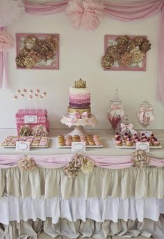 Insane shabby chic princess dessert table #princess #desserttable #shabbychic #ombre