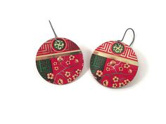 Recycled Tin Earrings Chinese Red and Green by TinMoonJewelryworks