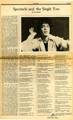 Little-known Lou Reed poem about 'Janis, Jimi, and Me' from 1971 | Dangerous Minds click through to read the article  http://dangerousminds.net/comments/little_known_lou_reed_poem