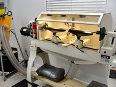 Lathe Dust Hood - Homemade lathe dust hood constructed from Diy Lathe, Woodworking Lathe, Woodworking Projects, Homemade Lathe, Homemade Tools, Woodturning Tools, Lathe Tools, Wood Turning Lathe, Wood Turning Projects