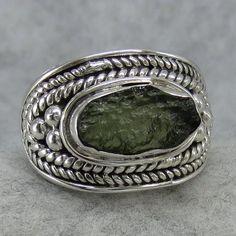 Czech Moldavite Ring - Size 8 - Hand Made Sterling Silver