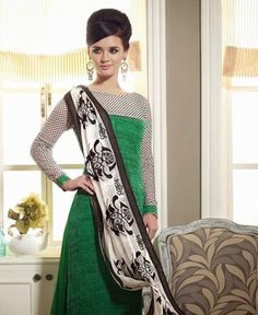 Picture of Alluring Green And White Party Wear Salwar Kameez